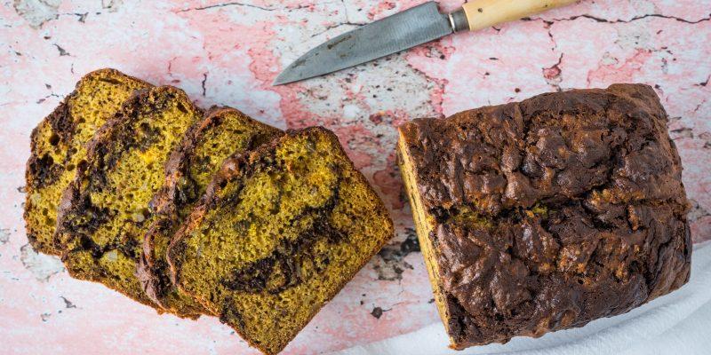 Chocolate Hazelnut-Marbled Banana Bread